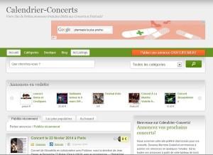 Calendrier Concerts: site de petites annonces gratuites dédiées à l'univers musical.